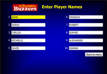 Affordable Buzzers Quiz Game Software Enter Player Names Screen